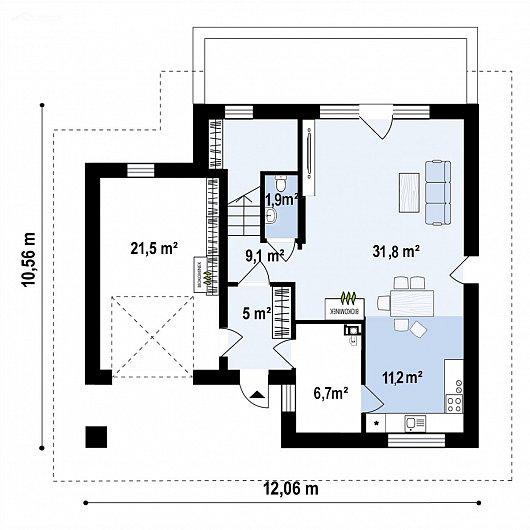 Первый этаж 84,5 м² дома Z482