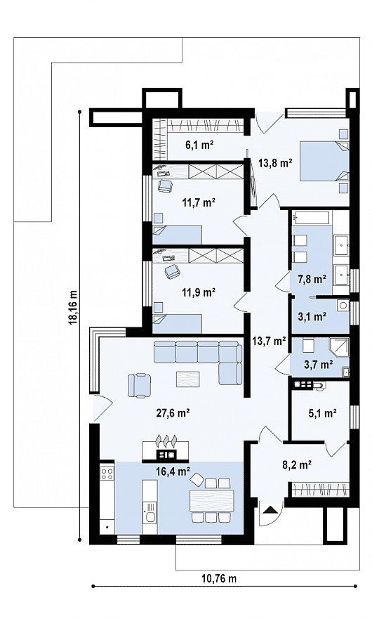 Первый этаж 128,2 м дома Zx67