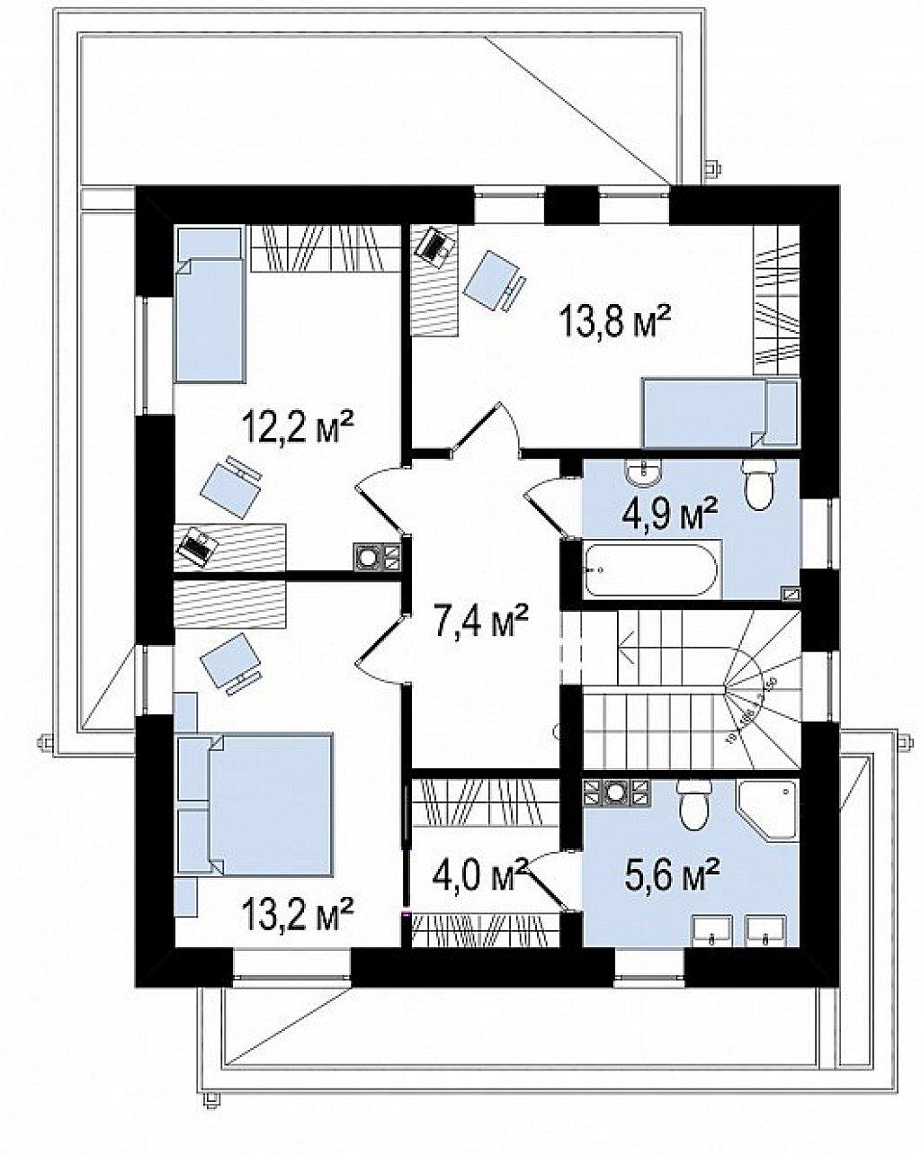 Второй этаж 61,1 м² дома Zx92pk
