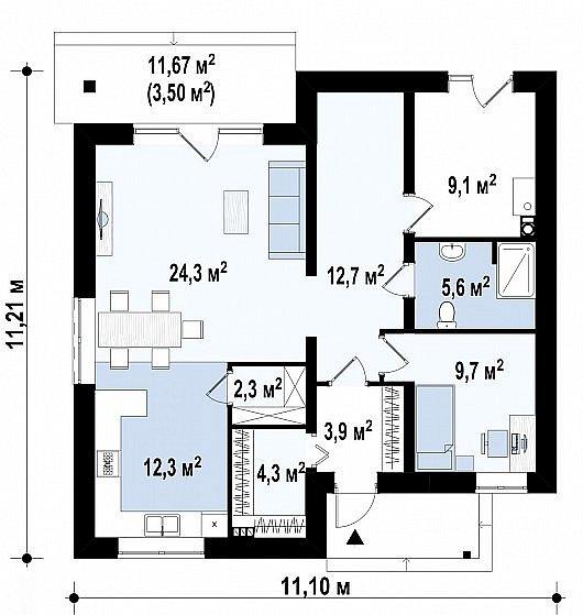 Первый этаж 89,5 м² дома Zz1 a pk