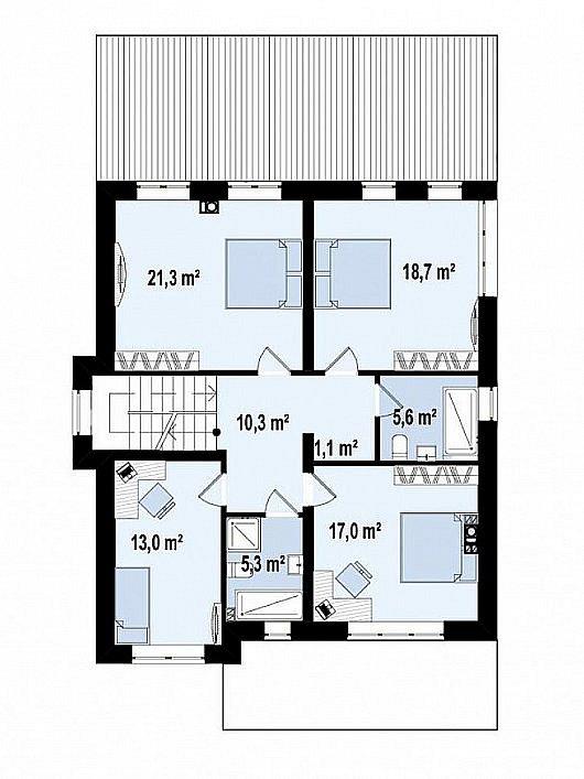 Второй этаж 92,3 м² дома Zz2 L BG pk
