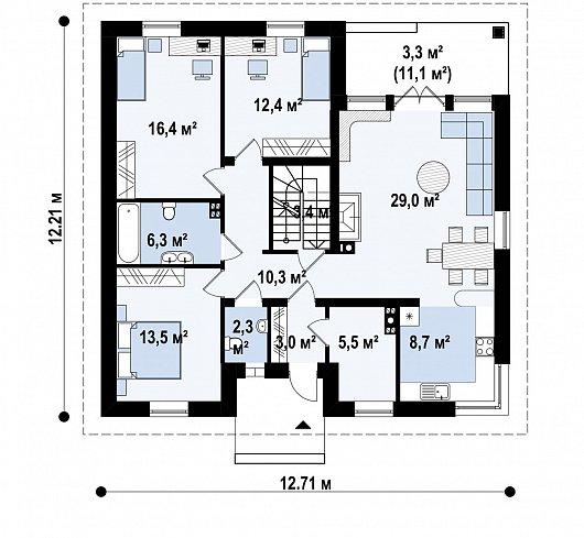 Первый этаж 114,0 м² дома Z24 P