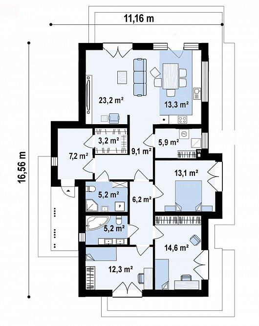 Первый этаж 118,3 м² дома Z434