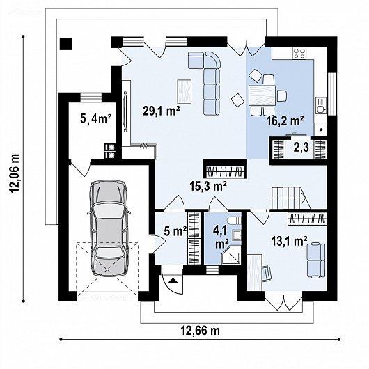 Первый этаж 110,2 м² дома Z477