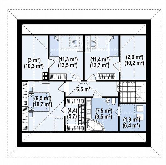 Второй этаж 94,5 м² дома Z477