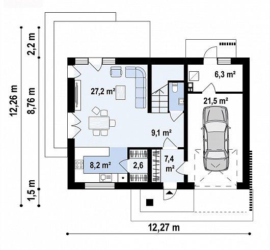 Первый этаж 82,3 м² дома Z479