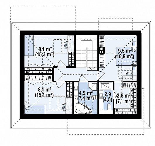 Второй этаж 74,8 м² дома Z479