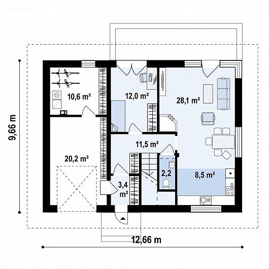 Первый этаж 96,5 м² дома Z481