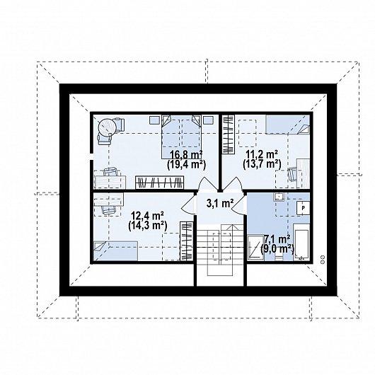Второй этаж 59,5 м² дома Z481