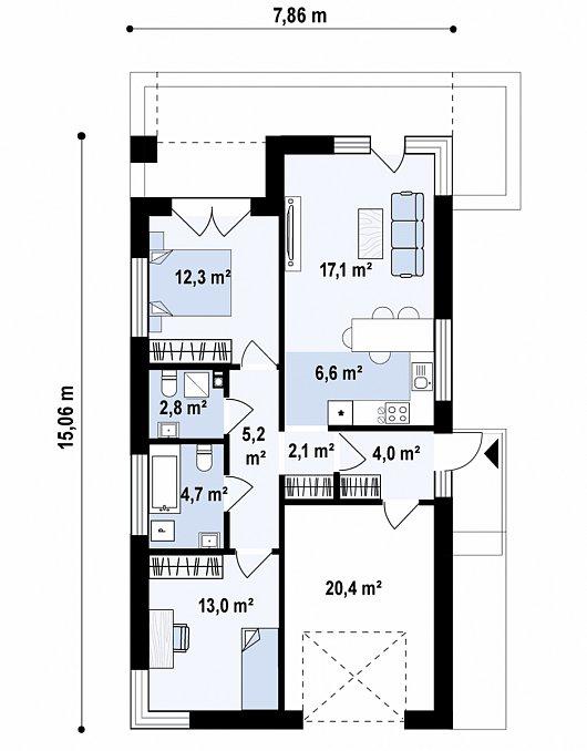 Первый этаж88,2 м² дома Z498