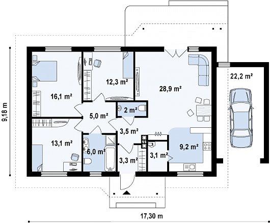 Первый этаж 125,1 м² дома Z69 GP