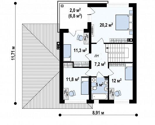 Второй этаж 67,5 м² дома Zx24 P