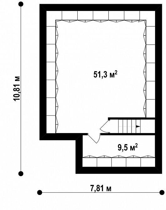 Подвал 60,8 м² дома Z295 P