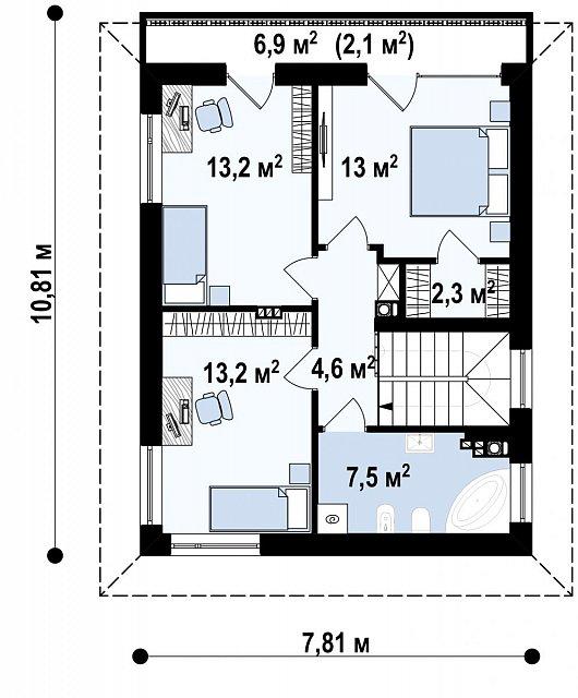 Второй этаж 53,8 м² дома Z295 P