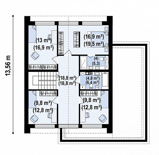 Второй этаж 91,9 м² дома Z493