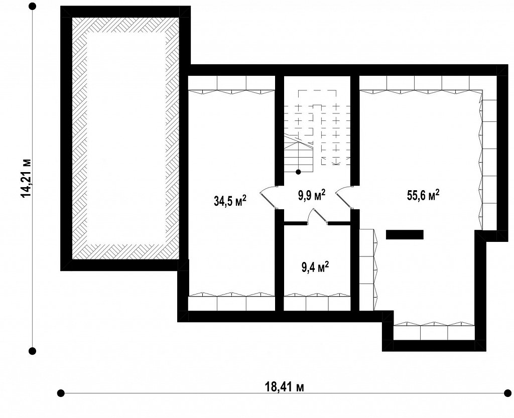 Подвал 109,4 м² дома Zx109 P