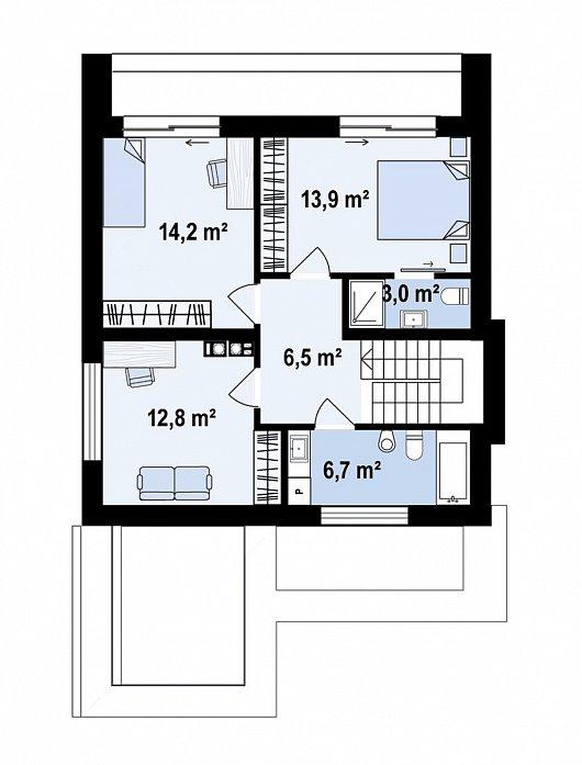 Второй этаж 57,1 м² дома Zx173