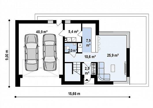 Первый этаж 93,2 м² дома Zx214
