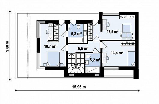 Второй этаж 67,6 м² дома Zx214