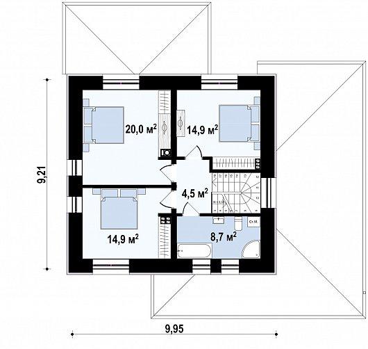 Второй этаж 63,0 м² дома Zz11k