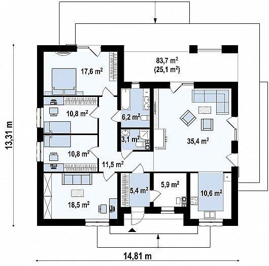 Первый этаж 160,8 м² дома Z321 S