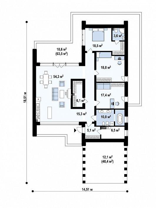 Первый этаж 187,1 м² дома Zx201 +
