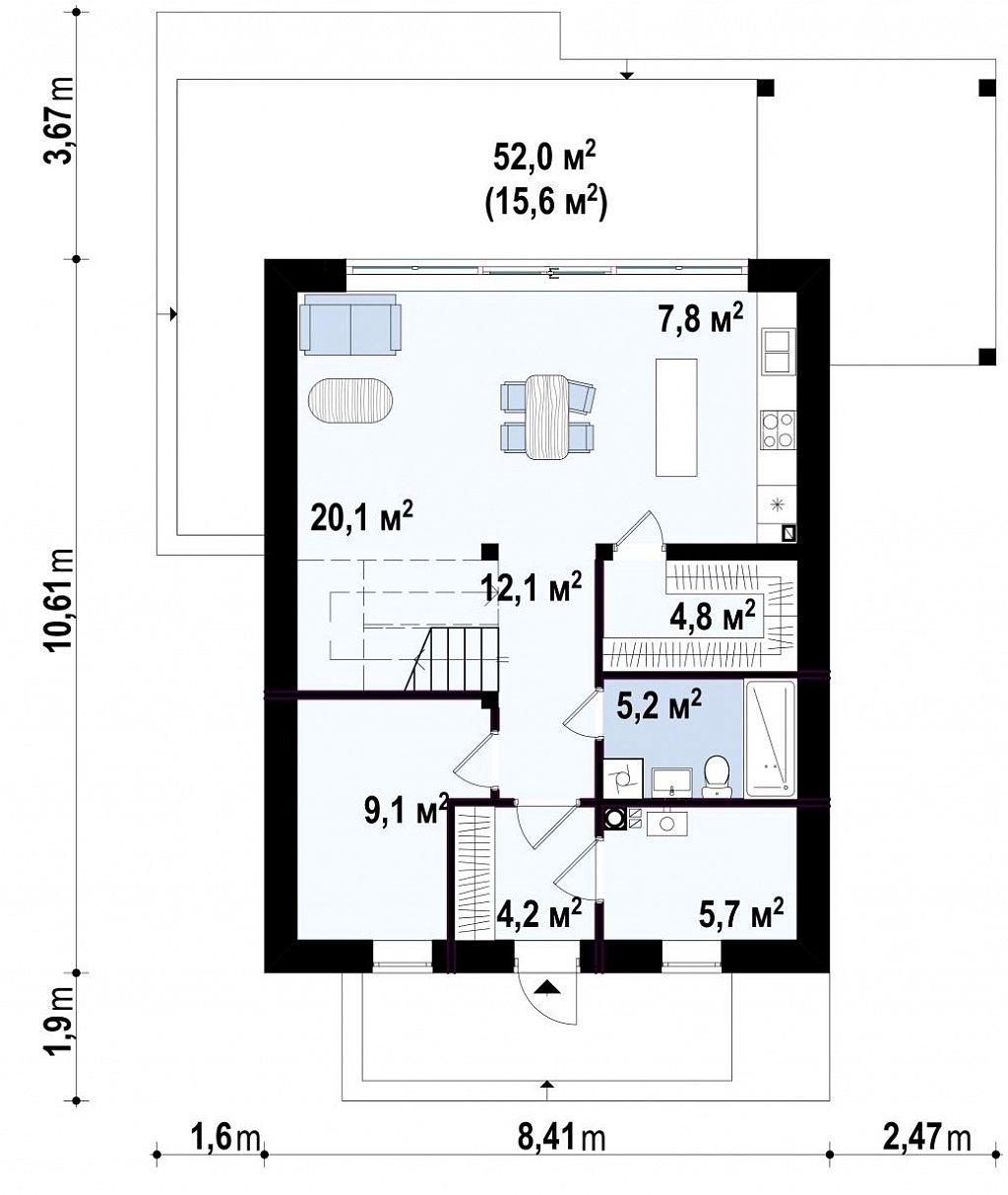 Первый этаж 87,2 м² дома Z440