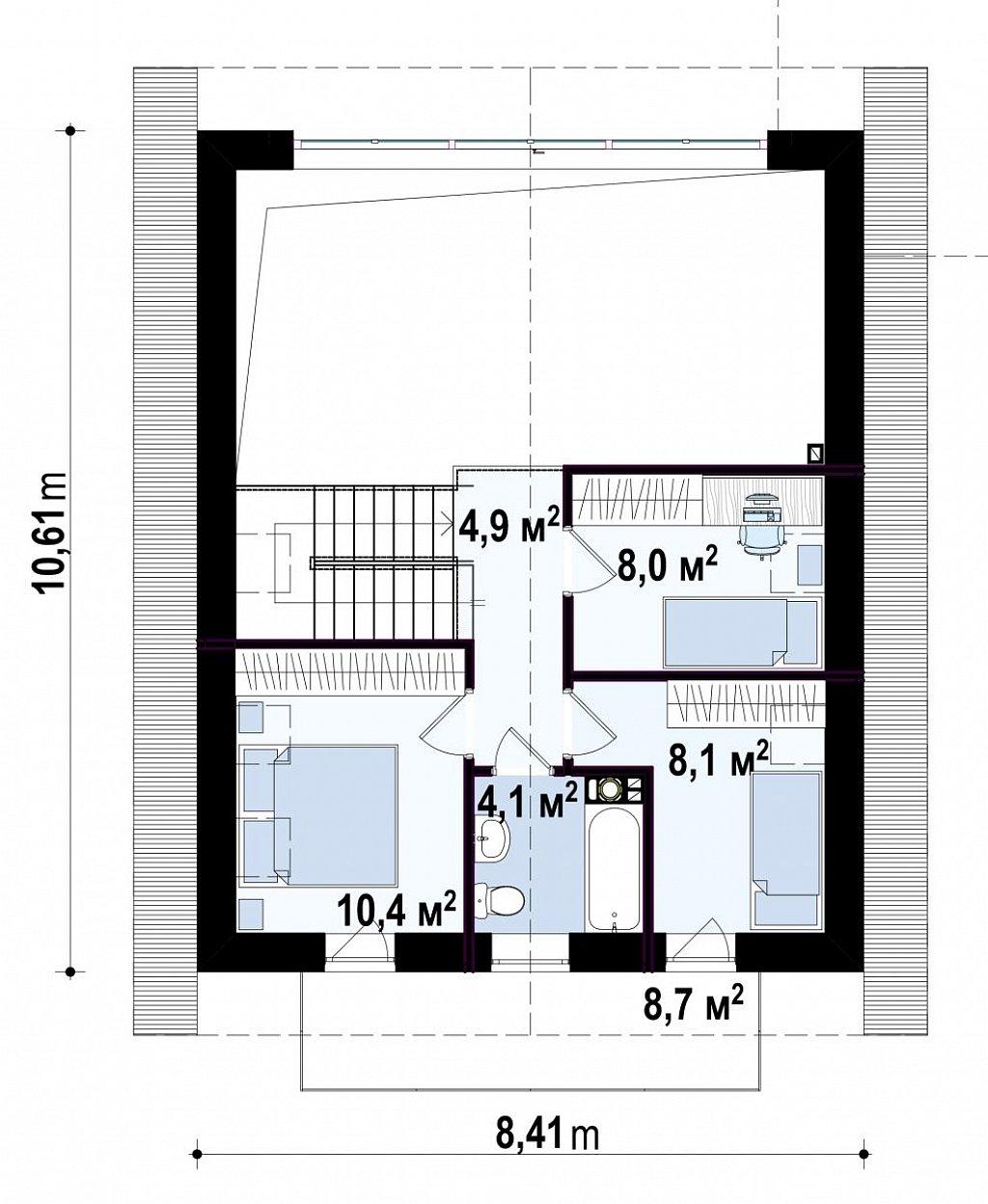 Второй этаж 35,2 м² дома Z440