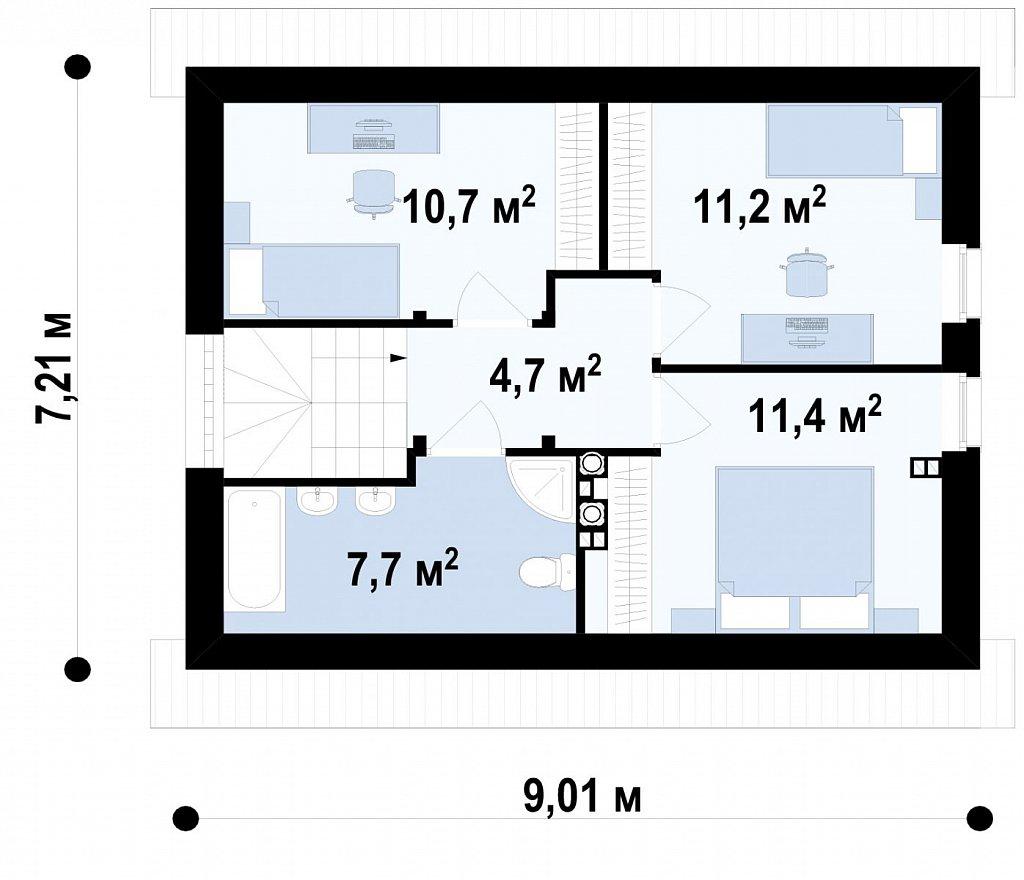Второй этаж 30,1(45,7м²) дома Z211