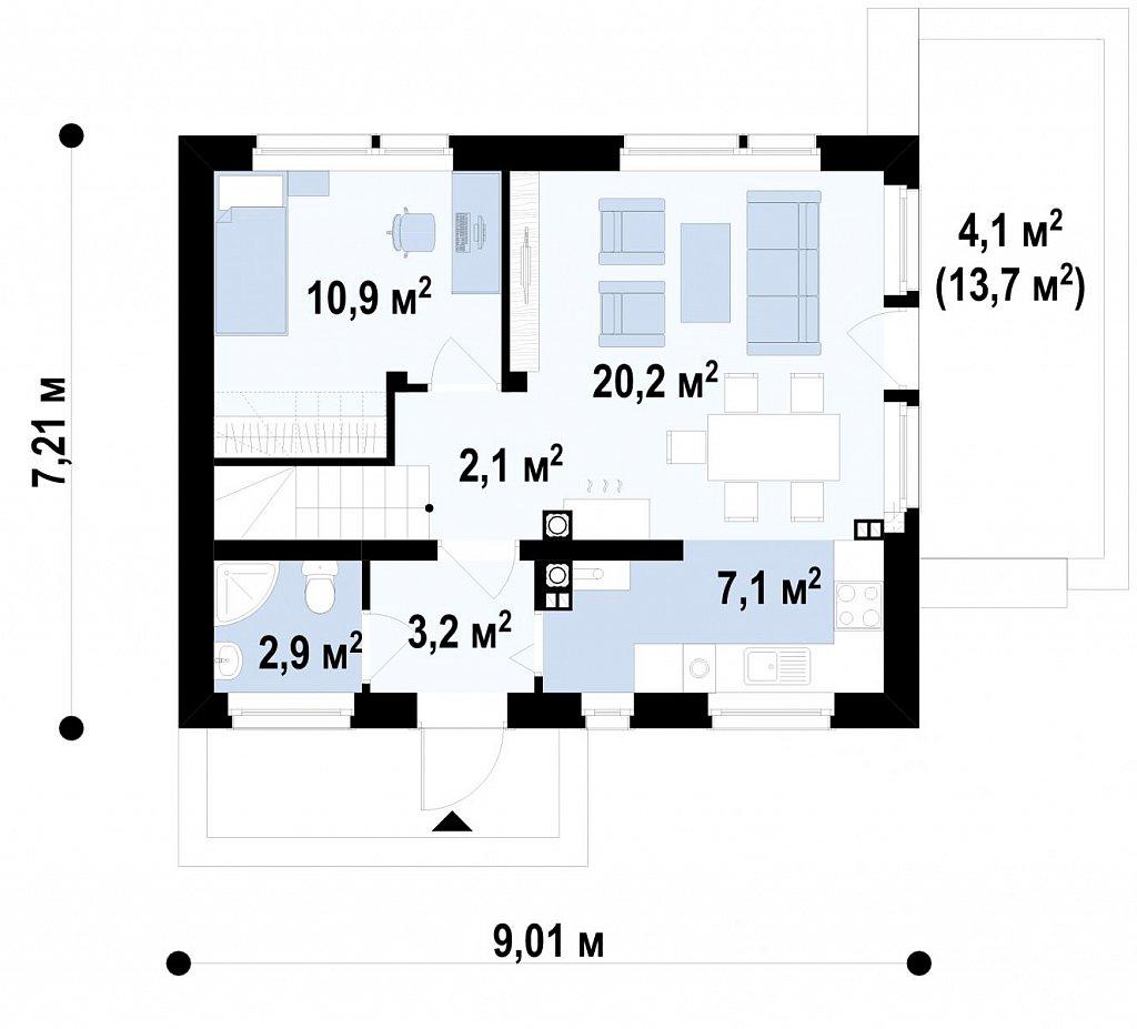 Первый этаж  дома Z211