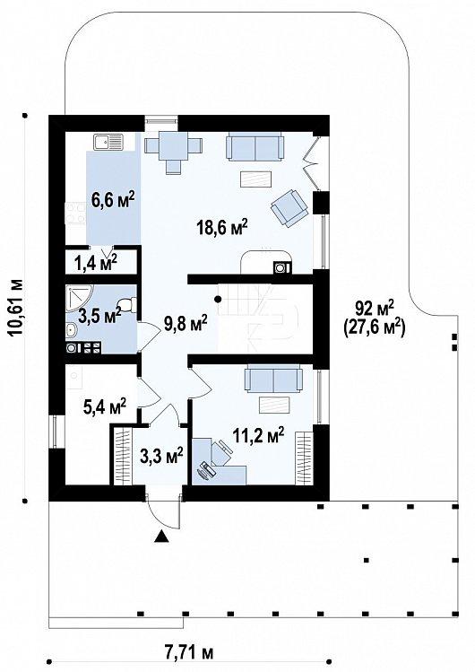Первый этаж 87,1 м² дома Z115