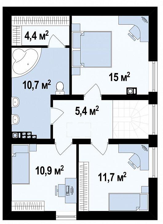 Второй этаж 58,9 м² дома Z115