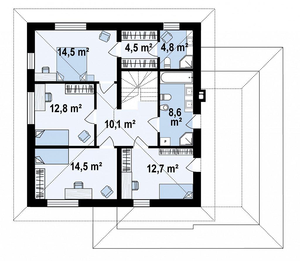 Второй этаж 82,5 м² дома Z421