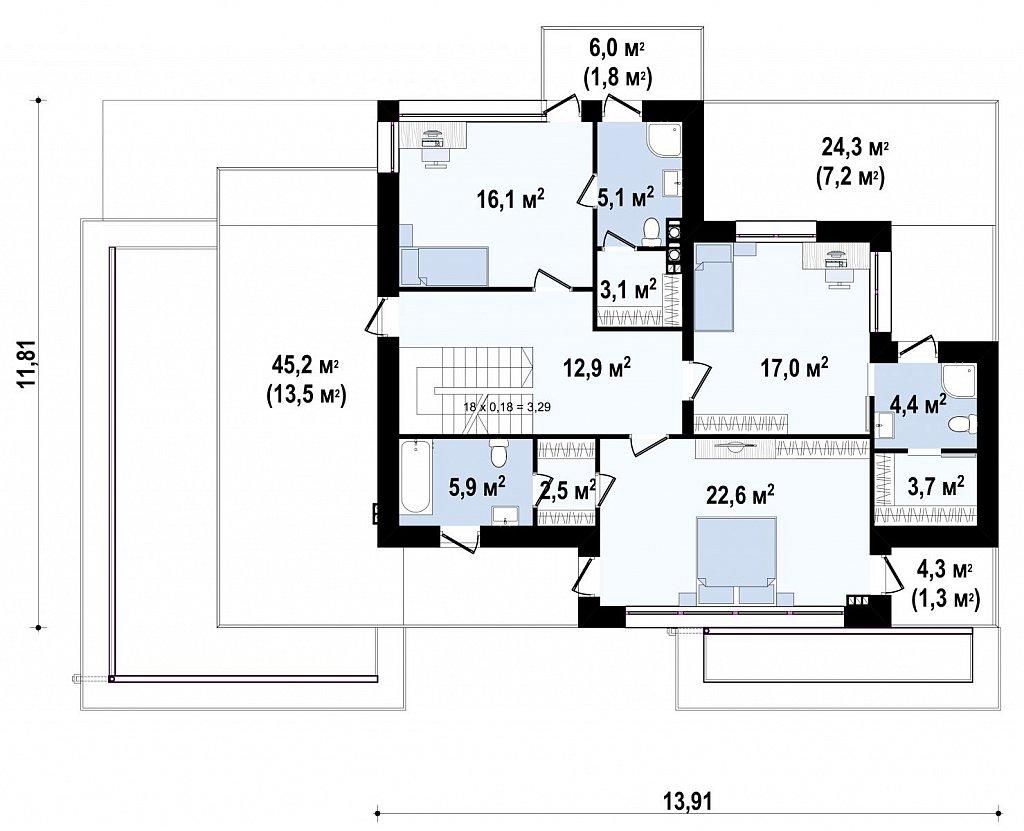 Второй этаж 114,6 м² дома Zx22
