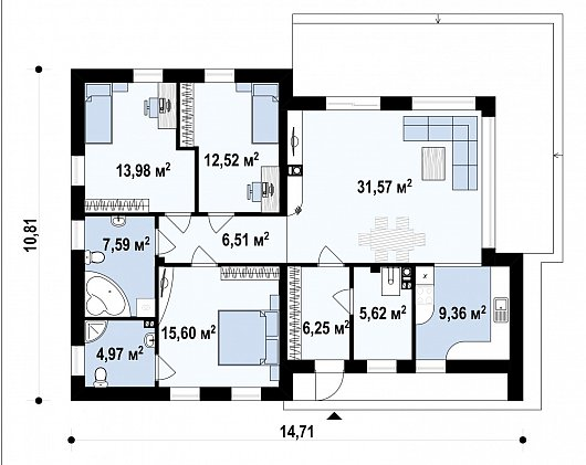 Первый этаж 123,2м² дома Zx35