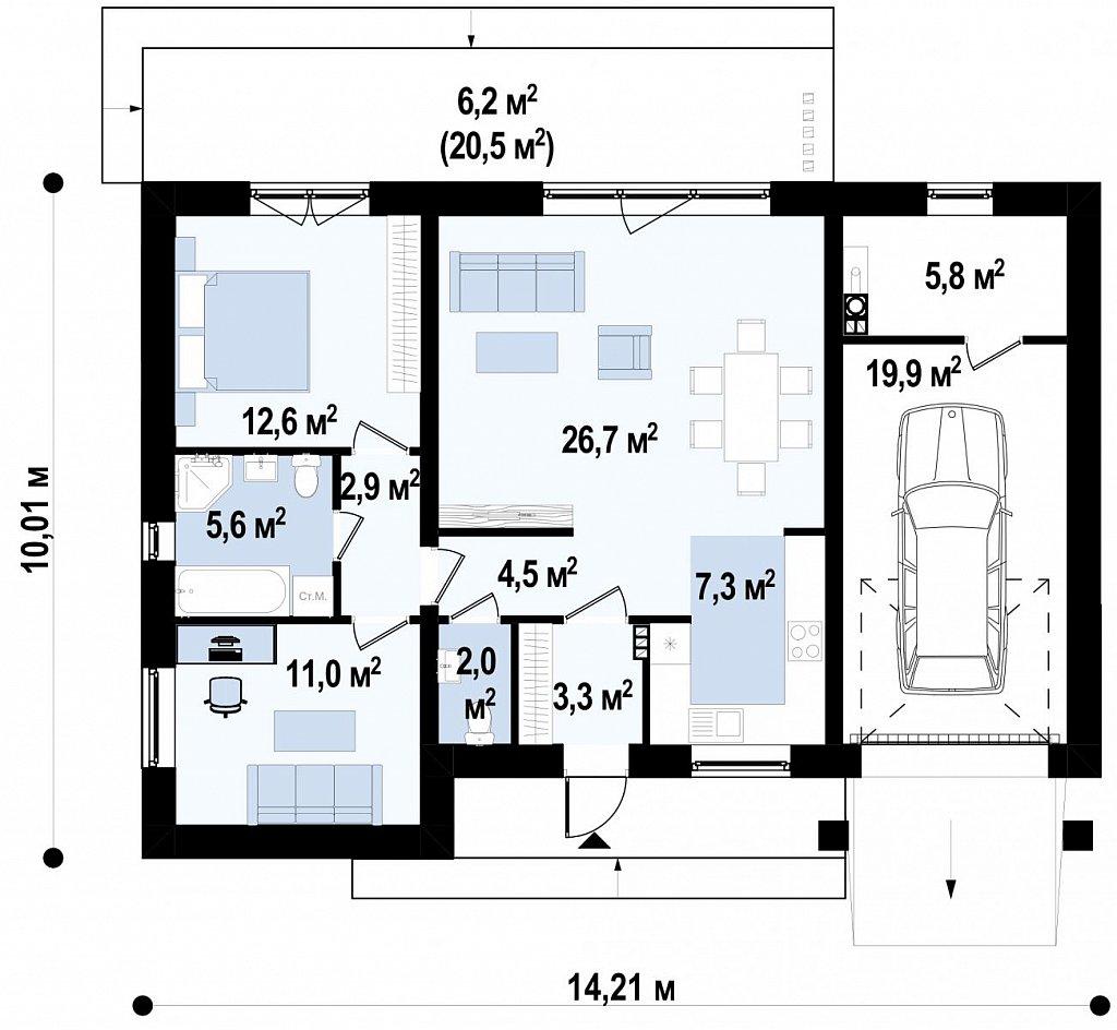 Первый этаж 107,7 м дома Z427