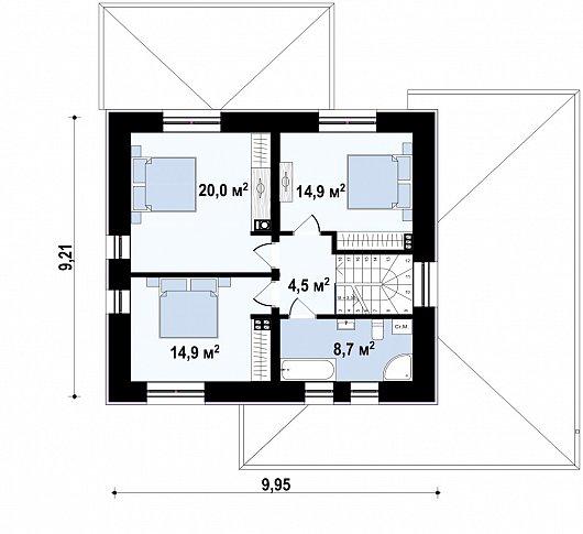 Второй этаж 63,0 м² дома Zz11k+