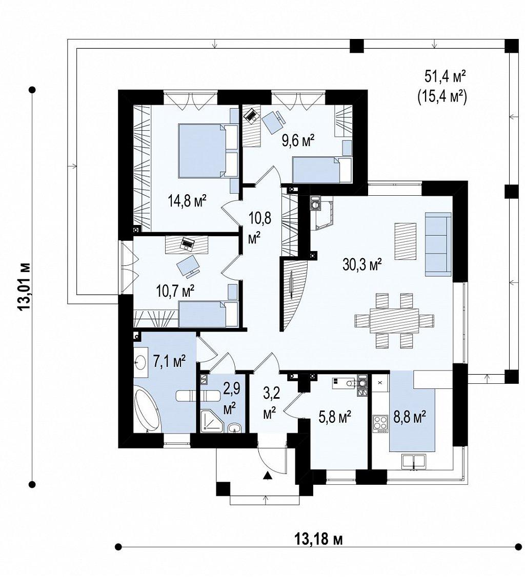 Первый этаж 119,3 м² дома Zx138