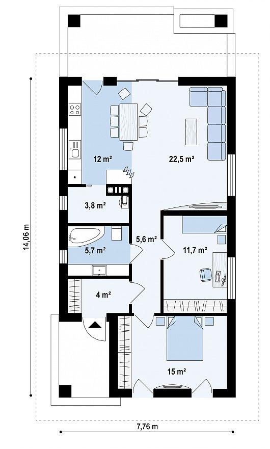 Первый этаж 80,7 м² дома Z355
