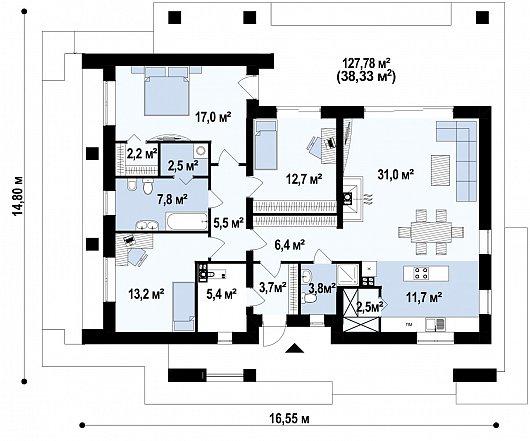 Первый этаж 163,6 м² дома Z344