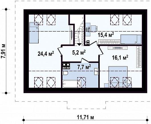 Второй этаж 69,4 м² дома Z12 P
