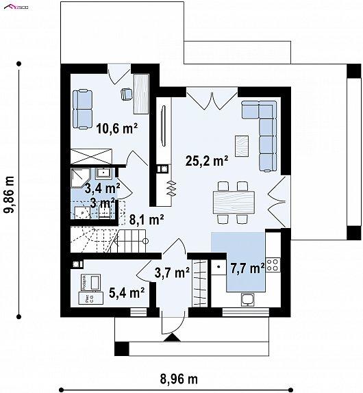 Первый этаж 64,1 м² дома Z385