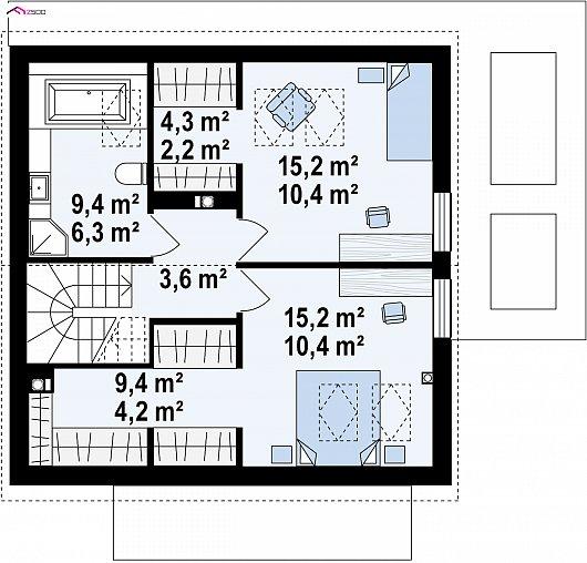 Второй этаж 56,1 м² дома Z385