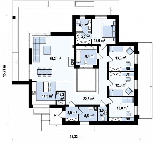 Первый этаж 173,9 м² дома Zx153